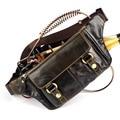 Zurriago paquete de la cintura hechos a mano del hombre del cuero genuino del bolso mensajero ocasional pequeño cerrar montaje antirrobo bolsa fanny packs