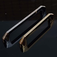 128mm 160mm Fashion Deluxe Glass Diamond Handles Silver Kitchen Cabinet Drawer Dresser Door Handles Pulls Clear