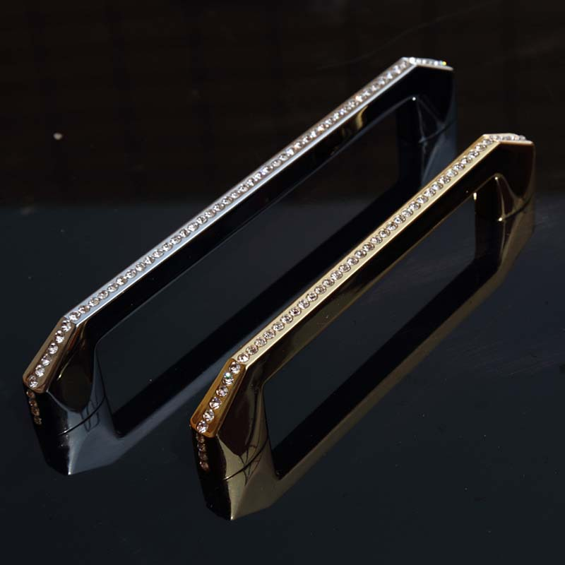 128mm 160mm fashion deluxe rhinestone handle silver gold kitchen cabinet drawer dresser door handles pull 5 K9 crystal handles цена