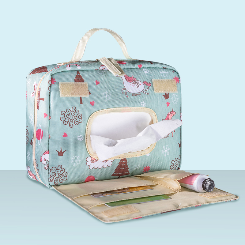 Sunveno Baby Diaper Bags Maternity Bag for Disposable Reusable Fashion Prints Wet Dry Diaper Bag Double Handle Wetbags 21*17*7CM 5