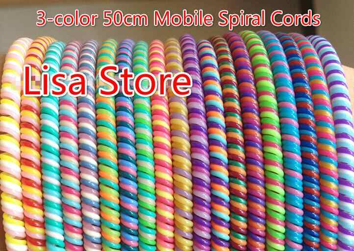 Rainbow podwójne potrójne wiosna rękaw ochronny tablet mobilny spiralna osłonka na kabel do telefonu komórkowego ładowarka do iPhone'a przewód słuchawek
