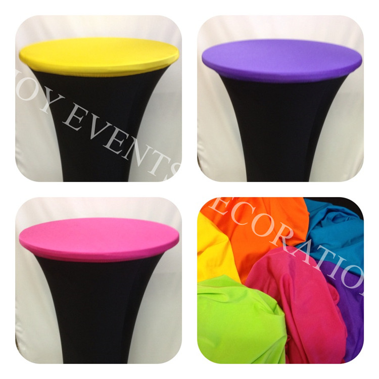5pcs YHT#101 D60cm elegant lycra spandex cocktail table cover with topper for events docor