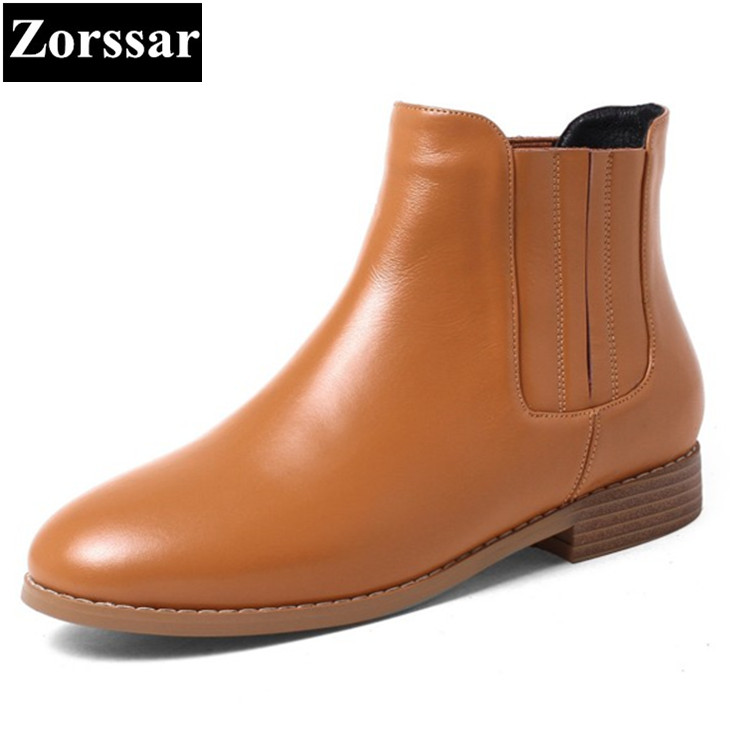 {Zorssar} NEW arrival fashion Casual Flat heel Women Chelsea Boots Round toe flats ankle boots autumn winter female shoes Brown front lace up casual ankle boots autumn vintage brown new booties flat genuine leather suede shoes round toe fall female fashion