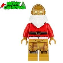 Single Sale Holiday Christmas Santa C-3PO STAR WARS TMNT Minifigures DIY Assemble Building Blocks Kids Xmas Toys Gift