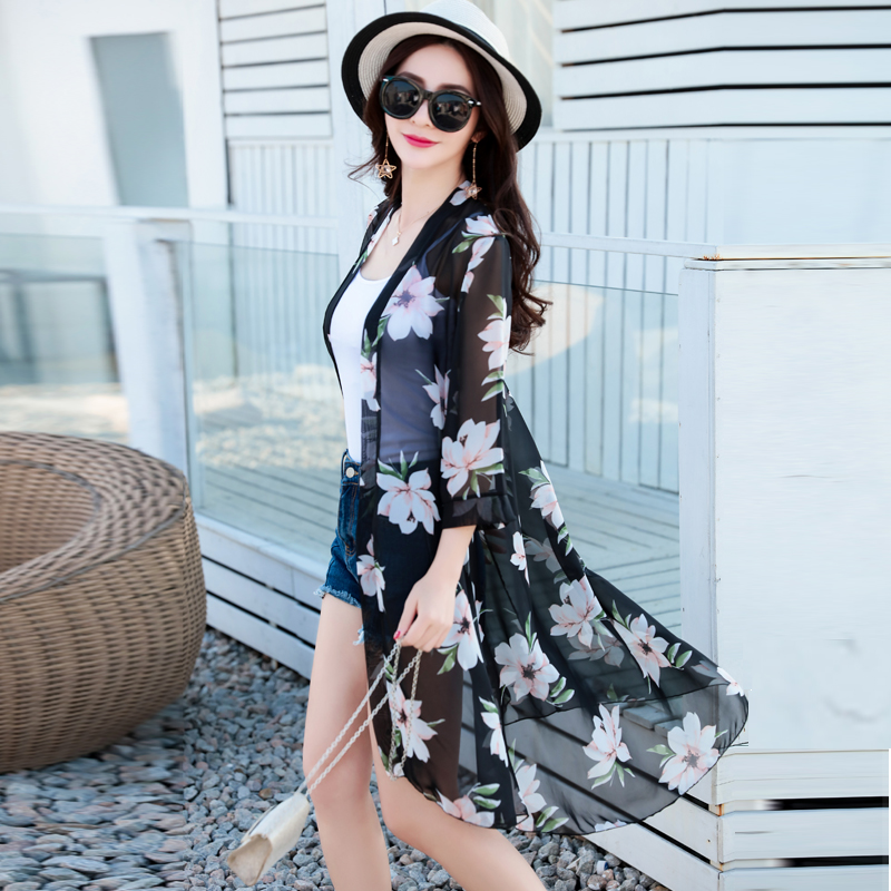 Sun protection clothing women 2019 summer wild new chiffon shawl long section large size loose thin women   trench   printing coat