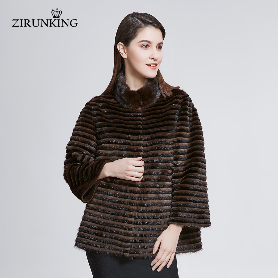 ZIRUNKING nouveau femmes réel vison fourrure veste dame vison fourrure avec Rex lapin fourrure manteaux survêtement femme col montant pardessus ZC1817