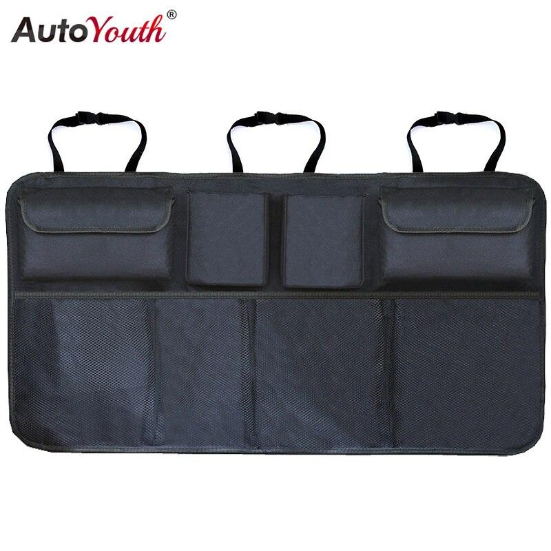 Organizador de maletero de coche bolsa de almacenamiento de asiento trasero ajustable red de alta capacidad Multi-uso Oxford automóvil asiento trasero organizadores Universal
