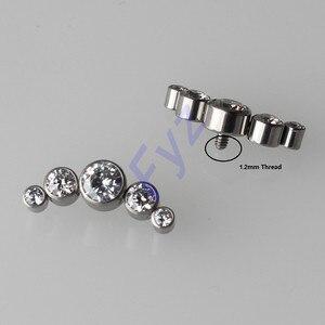 Image 1 - G23 Titanium CZ Zircon Dermal Anchor Ear Cartilage Helix Tragus Stud Labret Lip Piercing Tops Replacement Body Jewelry