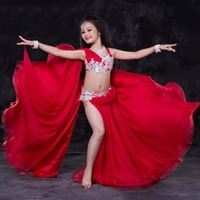 NEW Luxury hand made Beaded Belly Dance Set Dress for Kids 2 Piece Oriental Dance Competition Costumes for Child/Girls 3 sizes