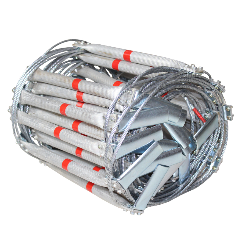 5M Fire Escape Ladder Folding Steel Wire Rope Ladders Aluminum Alloy Emergency Survival Self Rescue Safety Antiskid Tools