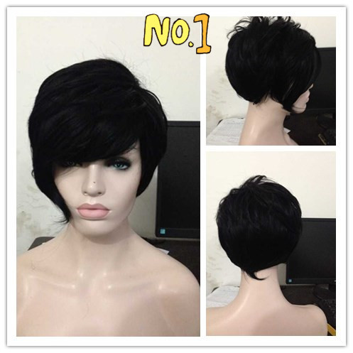 High Quality Rihanna Hairstyle Black Wig Short Pixie Cut Wigs For