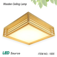 일본식 다다미 나무 천장 및 Pinus Sylvestris의 LED 램프 자연 색상 광장 그리드 종이 천장 램프 조명기구