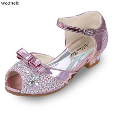 Weoneit Girl Sandals 2019 Children Princess Rhinestone Sandals Kids Girls  Wedding Dress Party Sweet Shoes Pink Silver Gold 19ad1db30a06