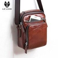 LIELANG Crossbody bag Leather Messenger Bag Men Shoulder Brown Bag Handbag Crossbody Vintage Cowhide Travel Male Bag heuptasje