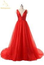 Женское вечернее платье с v образным вырезом из органзы