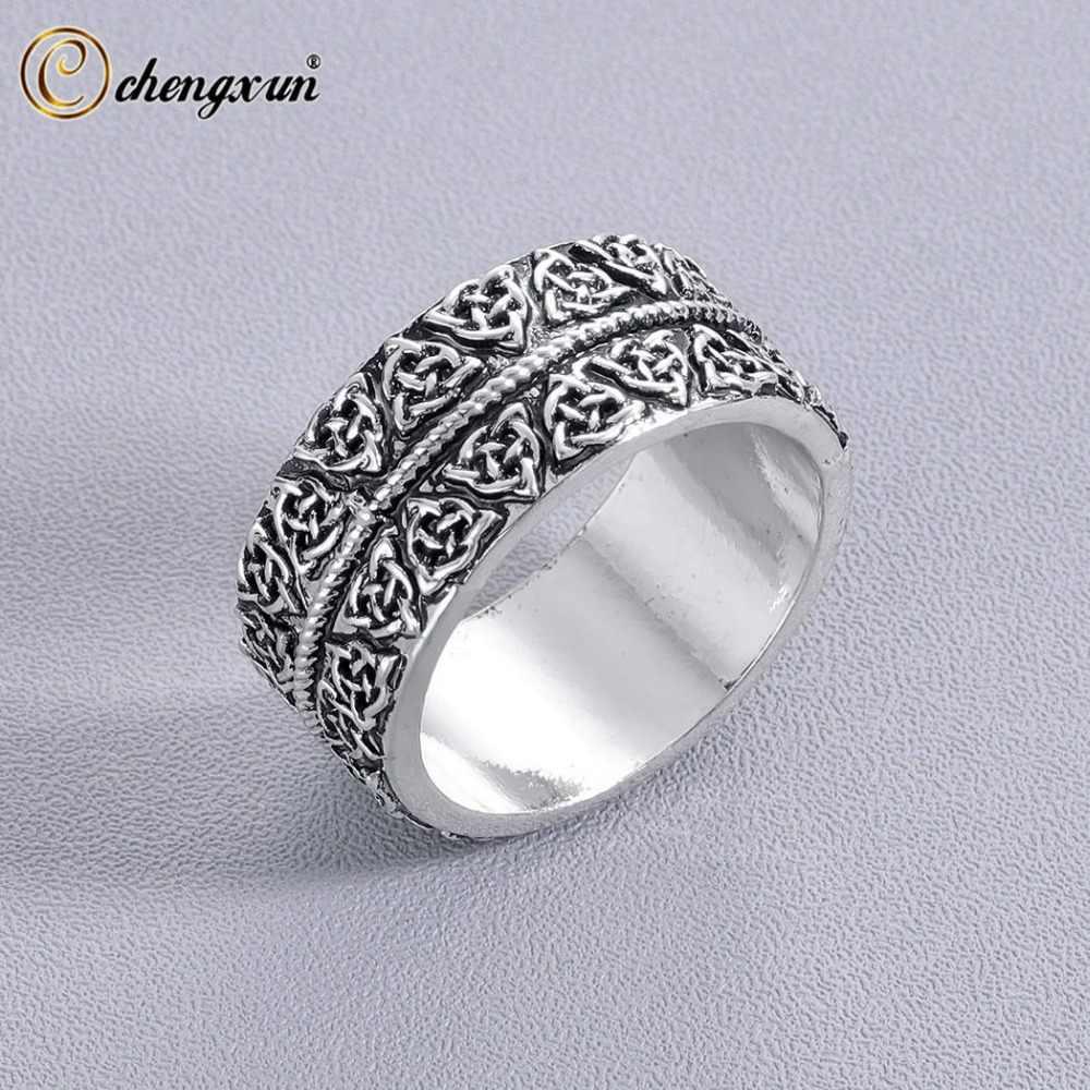CHENGXUN Triquetra Символ ручной работы кольцо для мужчин Уникальные антикварные ювелирные изделия Свадебная вечеринка подарок бойфренда