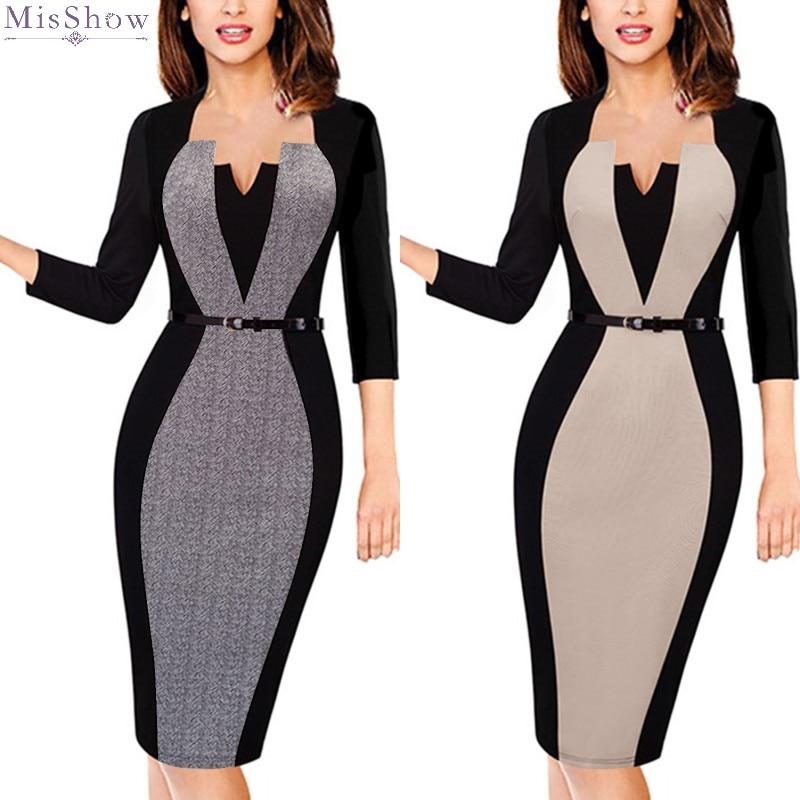 Elegant Women Business Office Work Formal Party Belt Bodycon Sheath Pencil Dress