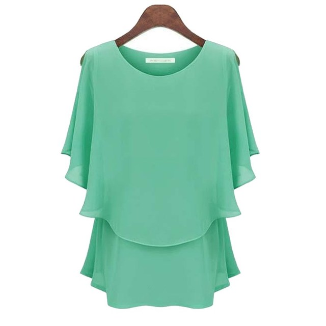 YRRETY New Ruffles Women Tops Fashion 2018 Womens Summer Chiffon Blouse Plus Size 2XL Batwing Short Sleeve Casual O-Neck Shirt