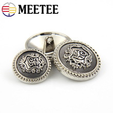 10pcs Meetee 15-23mm High Grade Silver Retro Metal Buttons for Suit Coat Jacket Jeans Decor Accessory DIY Clothes Sewing Crafts