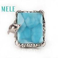 Высочайшее качество 18 К Золотое кольцо с натуральным larimar драгоценный камень, бриллианты дельфина, модные благородные атмосфера ювелирные
