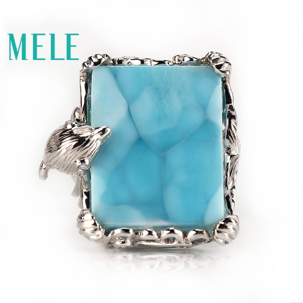 Top quality 18k gold ring with natural larimar gemstone