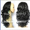 """Imitate man Remy Hair wigs Full 28"""" 3/4 wigs Hairpieces Long Loose Wavy Half Head costume Long fibre hair Wig"""