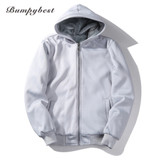 Bumpybeast Fashion Male Designed Solid Color Solid Color Full Sleeve EU/US Size  Hooded Zipper With Pocket Men Sweatshirt W11