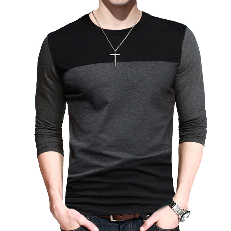 BROWON Autumn Korean Men T Shirt Vintage Style Patchwork Black&gray O-neck Long Tshirt Men Clothing 2019 Plus Size M-5XL