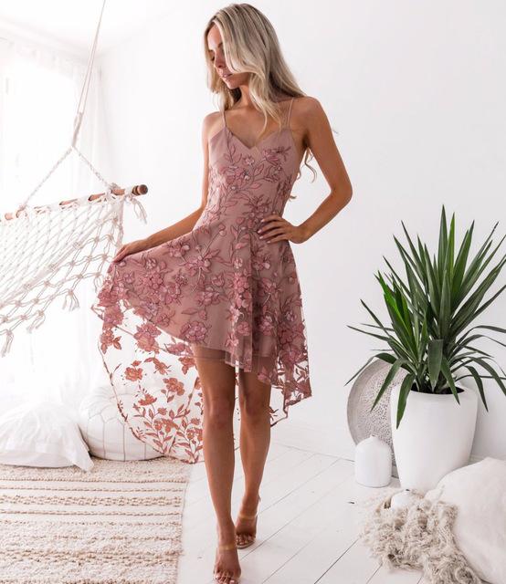 Elegant Vintage Bohemian Flower Embroidery Pink Dress