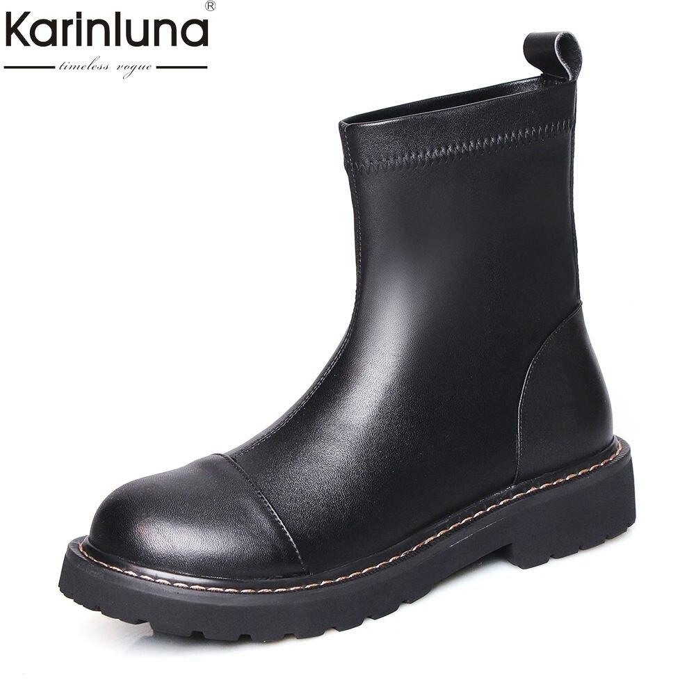 Mode marque design top qualité grande taille 42 véritable en cuir chunky talons sans lacet bottes femme chaussures femmes chaussures décontractées bottes