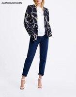 New Fashion Spring Black Blazer Women Office Cardigan Coat Female Floral Print Open Stitch Coat Blazer Suit XZ1949