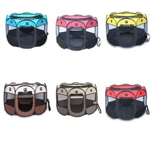 Portable Folding Pet Tent Dog House Cage Cat Playpen Puppy Kennel Easy Operation Octagonal Fence Outdoor Supplies