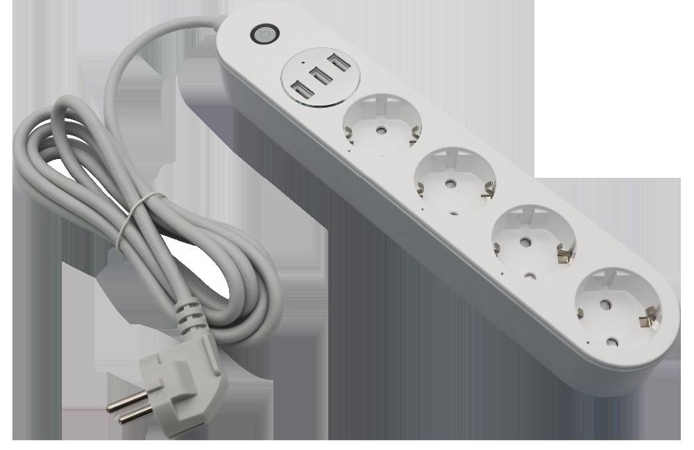 Carte d'alimentation intelligente Alexa, protection contre les surtensions Wifi 4 prises EU 3 prises USB prises intelligentes avec interrupteur de surcharge/minuterie/voic sans fil