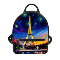 Backpack Female Teenager Girls Schoolbag Eiffel Tower Printing Women Small Pu Leather Backpack Lady Shoulder Bag Mochilas