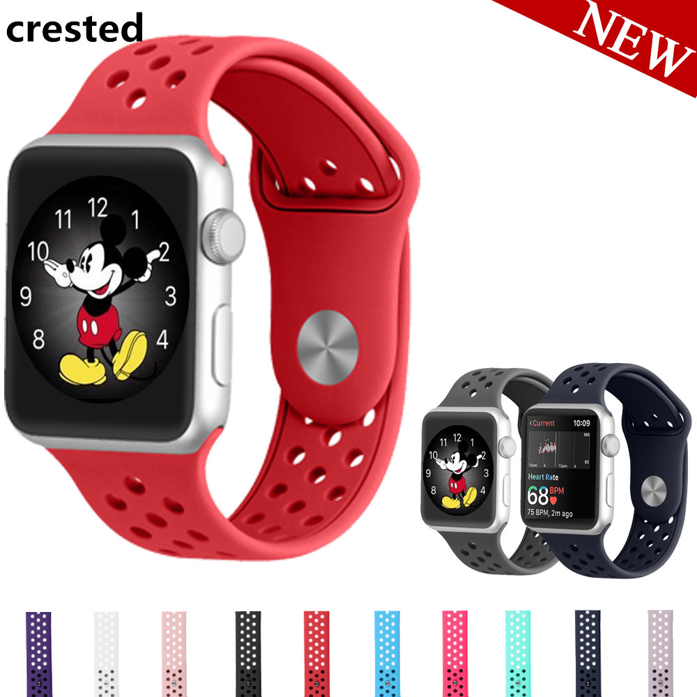 CRESTED Sport bands For Apple Watch band 42mm/38mm iwatch 3/2/1 silicone strap rubber wrist watchband bracelet replacement strap crested sport band for apple watch 3 42mm 38mm strap for iwatch nike 3 2 1 wrist band bracelet silicone strap