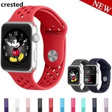 CRESTED sport silicone strap for apple watch 42mm/38 rubber band iwatch 1/2 Replaceable bracelet