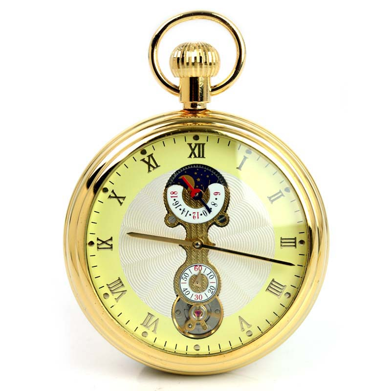 Wholesale ANTIQUE STYLE ENGRAVED GOLDEN MECHANICAL POCKET WATCH Freeship
