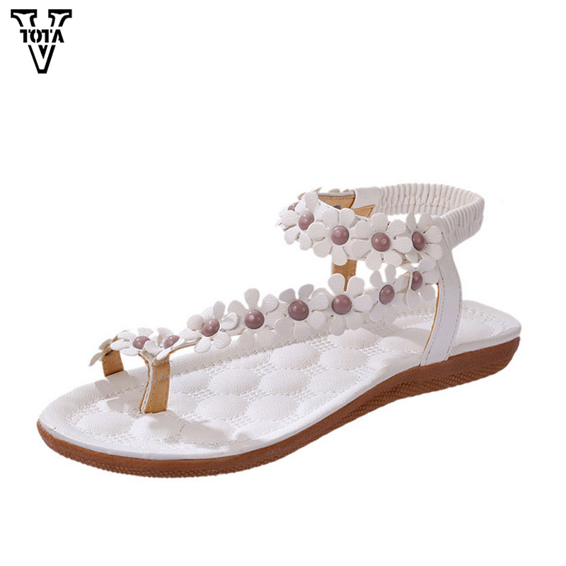 VTOTA Women Sandals Soft Leather Summer Shoes Woman Comfortable Ladies Bohemia Women's Shoes Flower Zapatos Mujer Flat Shoes 426 vtota summer shoes woman platform sandals women soft leather casual peep toe gladiator wedges women shoes zapatos mujer a89