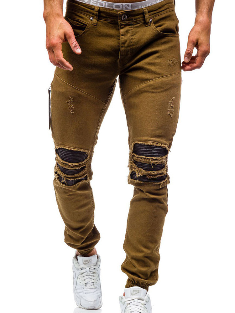 Asibeiul Men/'s Fashion Causal Denim Long Pants Ripped Jeans Slim Fit Skinny Hole Pocket Zipper Shredded Destroyed Trousers