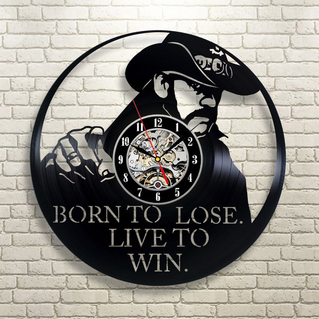 2017 Super Cool CD Vinyl Record Wall Clock Modern Design Born To Lose Live To Win Theme Art Watch  Classic Clock Relogio Parede