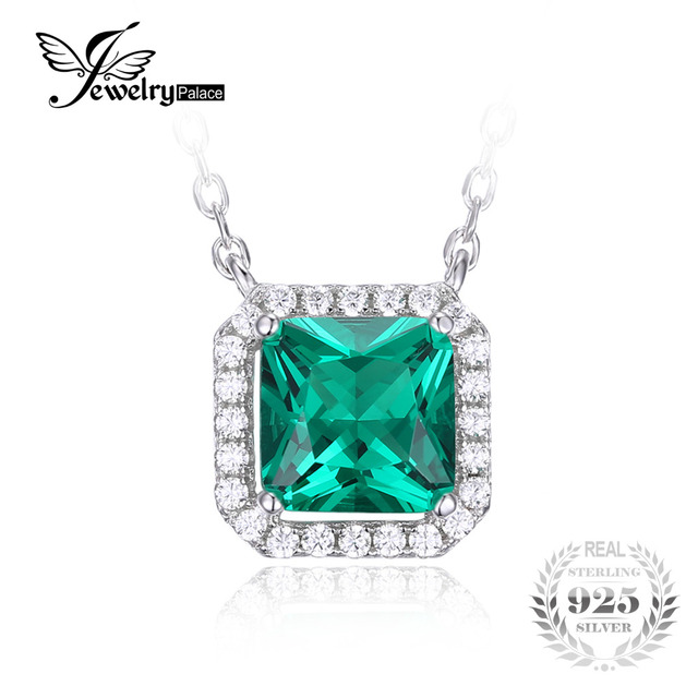 JewelryPalace Square 1.2ct Created Nano Russian Emerald 925 Sterling Silver Solitaire Pendant Necklace 18 Inches Fashion Jewelry