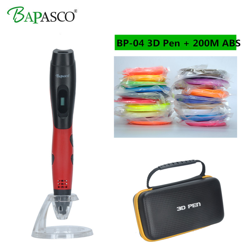 2018 Hot Sale 3D Pen Add 200Meter(20Color) ABS Filaments Bapasco 3D Printing Pen 3D Model Kids Best Gift 3D Drawing Pen Gift Box