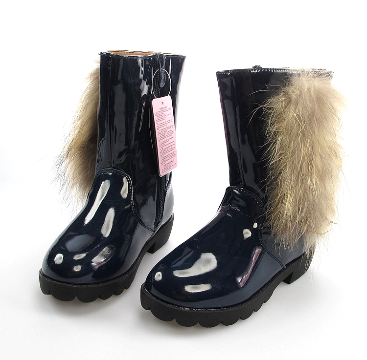 2013 children's winter boots girls snow plus size 28~38 fox fur rubber sole waterproof