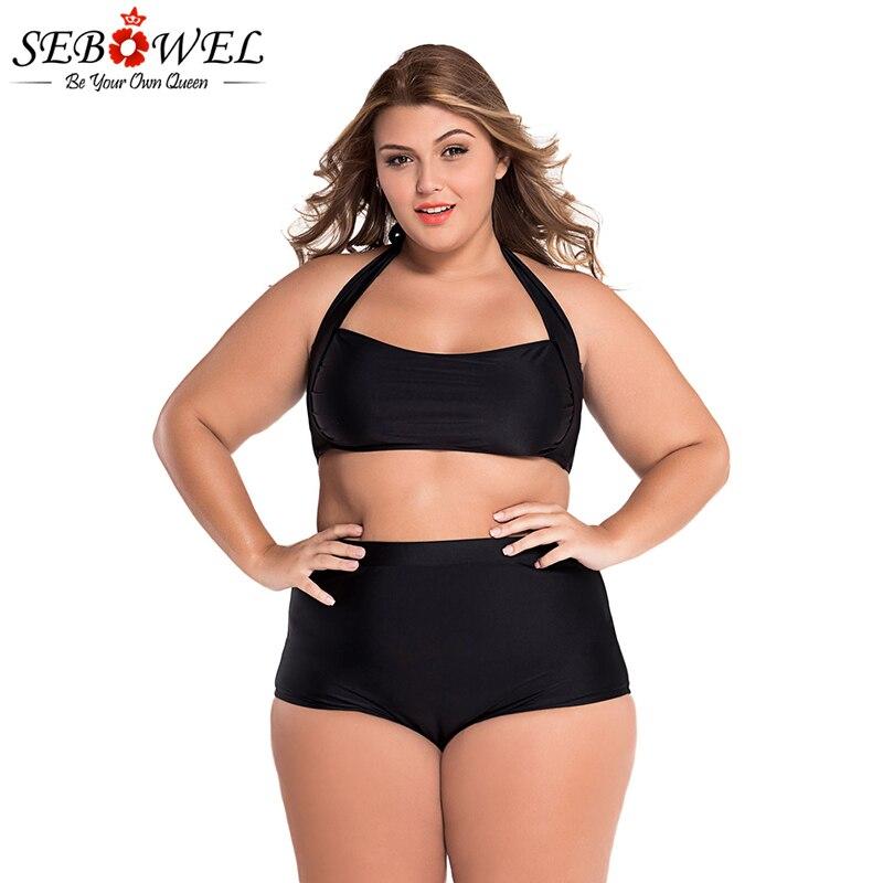 SEBOWEL Sexy Plus Size Swimwear Womens High Waist Bikini Set 19 Summer Swimsuit Sexy Large Female Bikinis Bathing Suits 5XL 13