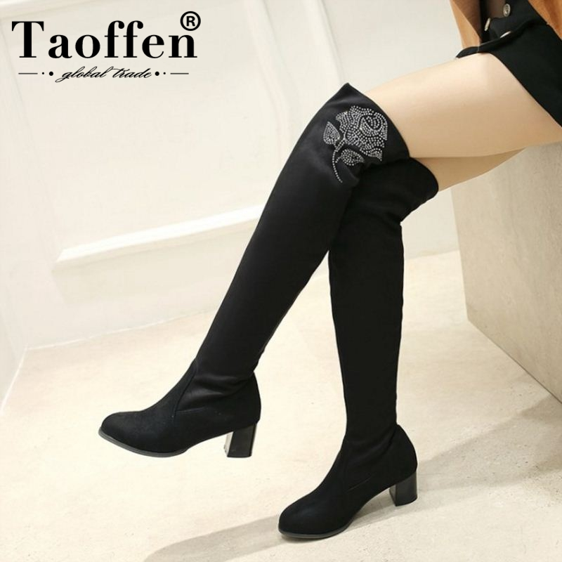 TAOFFEN Women High Heel Boots Round Toe Over Knee Bling Thick Heels Women Winter Shoes Fashion Ornate Ladies Footwear Size 33-43TAOFFEN Women High Heel Boots Round Toe Over Knee Bling Thick Heels Women Winter Shoes Fashion Ornate Ladies Footwear Size 33-43