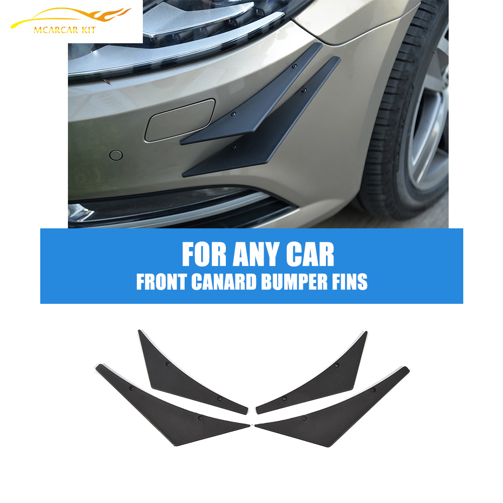 4PCS/Set Universal Front Bumper Lip Splitter Fins Body Spoiler Canards Valence Chin For Any Car Car Tuning Parts