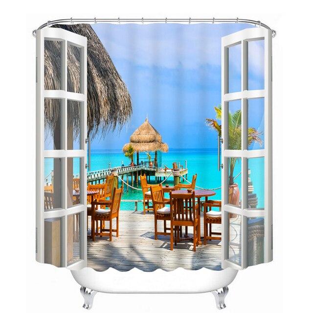 3D Shower Curtains Beach Leisure Vacation landscape Pattern Bathroom ...