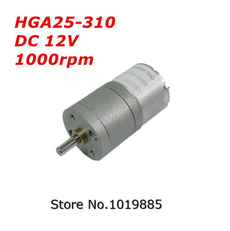 Bulk 1pcs HGA25-310 25mm 12V 1000 rpm Mini Micro Brushed DC Gear Motor For  Diy Robot Toys With Metal Geared Reducer Box