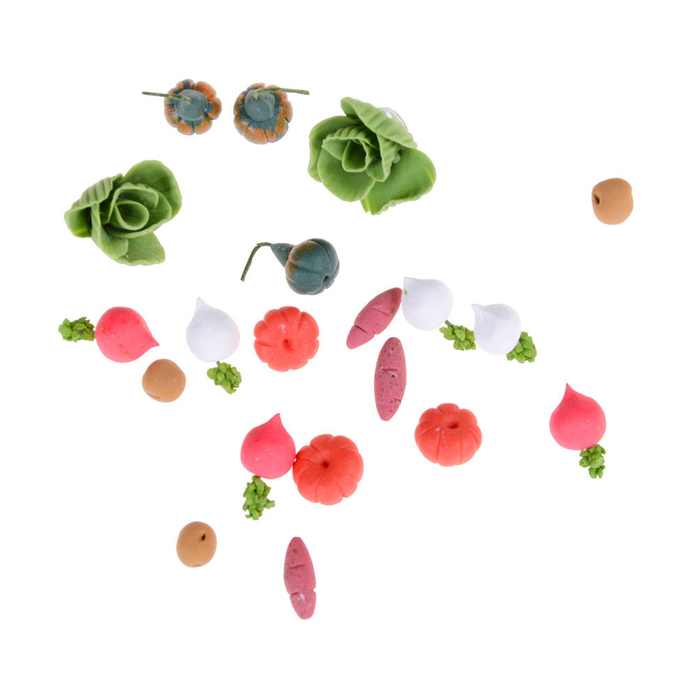 Mini 20PCS/SET Kitchen Fruit Vegetables Food Toy Dollhouse Cutting Set Kids Pretend Role Play Gifts Simulation Funny Toys