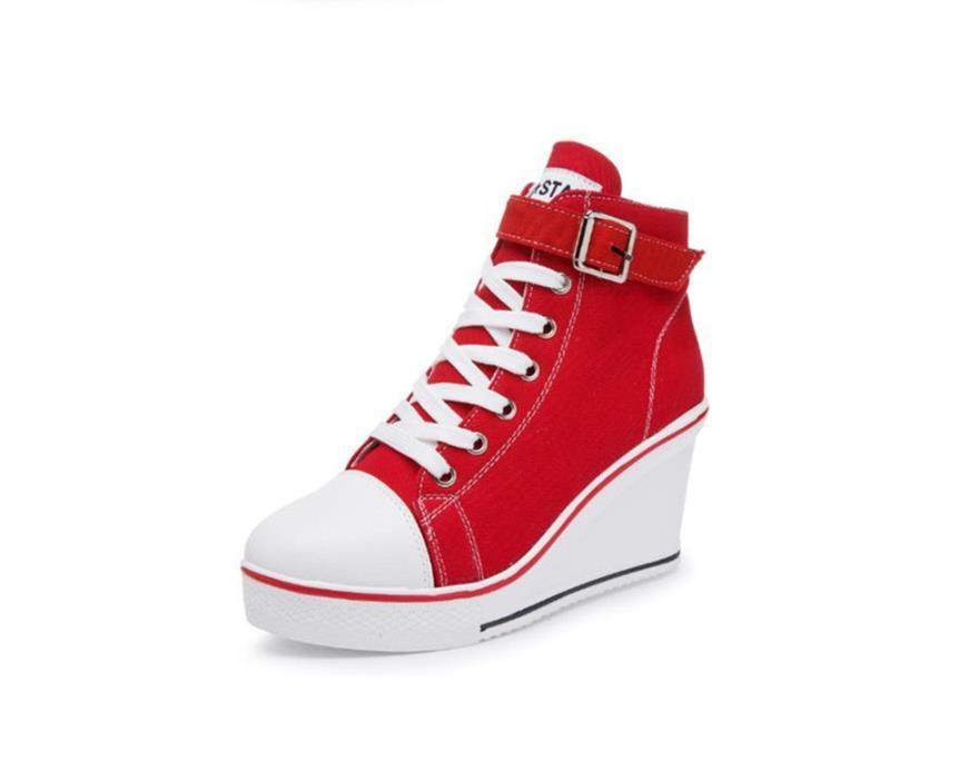 rosado Verano Otoño Negro Y rojo 8 Estudiantes Esponja A Zapatos Mujeres Cm Pastel Lona De Primavera Alta Casual Aumentar Ayudar Para 18 Cuña tS15xqw1